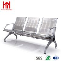 Stainless Steel 3 Seats Waiting Chair For Airport