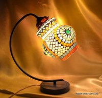 Table Lamp With Teal Shade Wire Table Lamp With Cream Shade Frosted Glass Touch Table