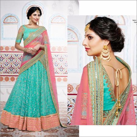 Green Mono Net Fabric Lehenga