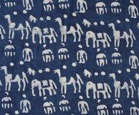 Indigo Blue Animal Block Print Fabric