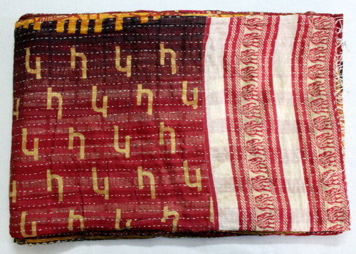 Hand Block Printed Kantha Vintage Quilts