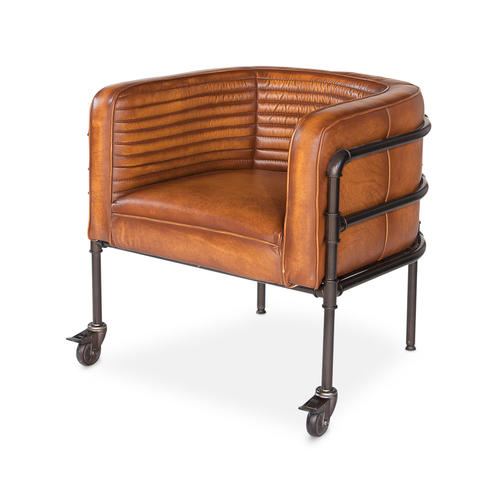 Leather Armchair on Wheels