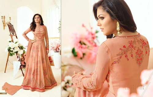 Silk Printed Work Designer Long Salwar Suit