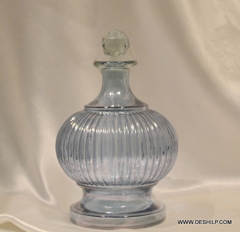 Sky Blue Antique Art Deco Cut Glass Decanter Bottle - Sky Blue