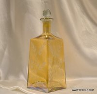 Vintage Decanter Glass Yellow Decanter Mid Decanter Liquor Decanter Round