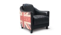 Union jack single seater leather club sofa