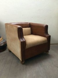 Leather and canvas club chair