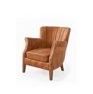 Chesterfield Winged Back & Leather Chair