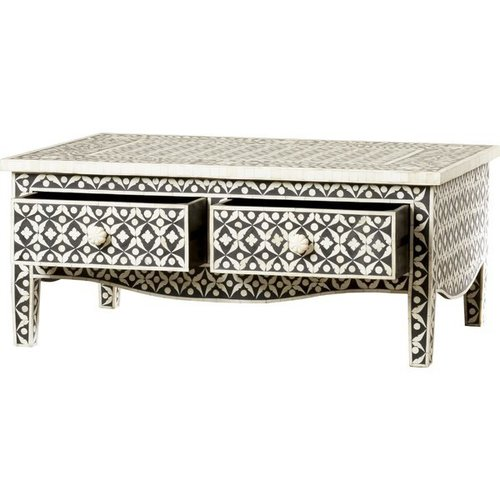 Bone inlay coffee table with 2 drawer