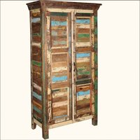 Reclaimed wood patchwork armoire cabinet