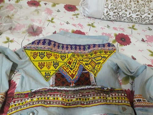 Tribal Boho Denim Jacket Banjara Embellished Gypsy