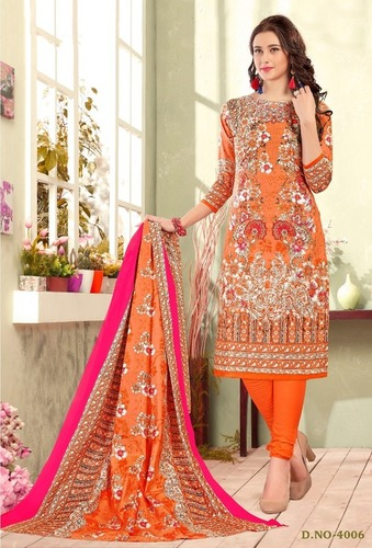 Rajiya Sultan Type Orange Color Dress Material