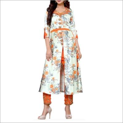 Designer Orange And White Salwar Suit