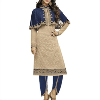 Beige And Navy Blue Georgette Dress Material