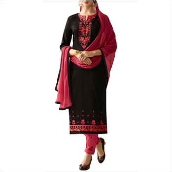 Black And Pink Cotton Dress Material