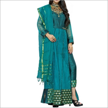 Sea Blue Designer Pakistani Salwar Suit