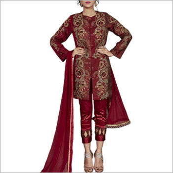 Maroon South Silk Designer Pakistani Suit