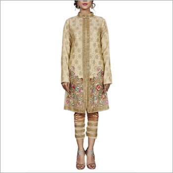 Beige Viscose Jari Jacquard Designer Pakistani Suit