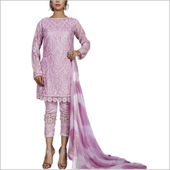 Baby Pink Viscose Satin Designer Pakistani Suit