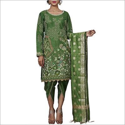 Dark Green Banarasi Designer Pakistani Suit