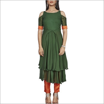 Dark green and Orange designer salwar suit