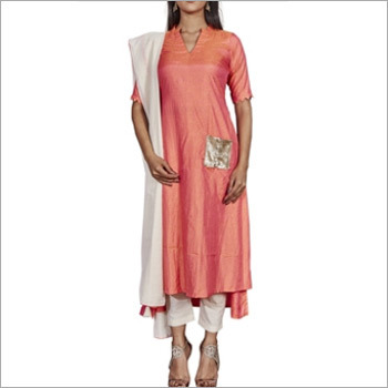 Designer Dark Peach Cuoss Kurti With Pant