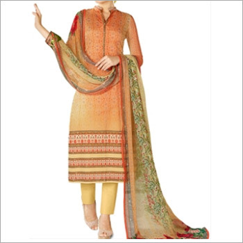 Orange Colored Cotton Lawn Salwar Suit