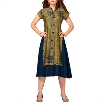 Navy Blue And Dusty Green Cotton Kurti
