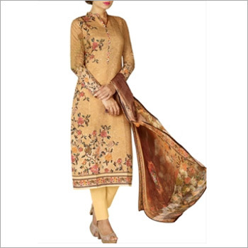 Brown Colored Cotton Lawn Salwar Suit