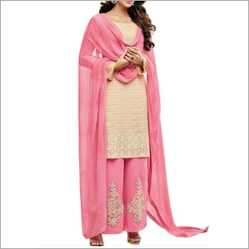 Beige And Pink Georgette Dress Material