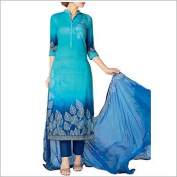 Sky Blue Colored Cotton Lawn Salwar Suit