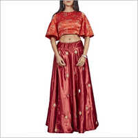 Orange And Red Raw Silk Crop Top With Skirt