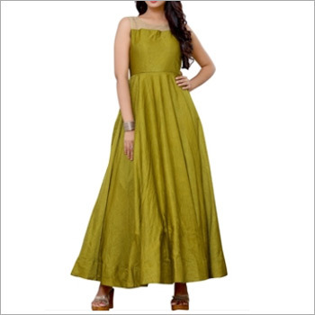 Mahendi Green Long Anarkali Top