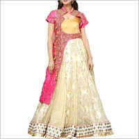 Designer Beige Gown With Pink Mulbary Coty