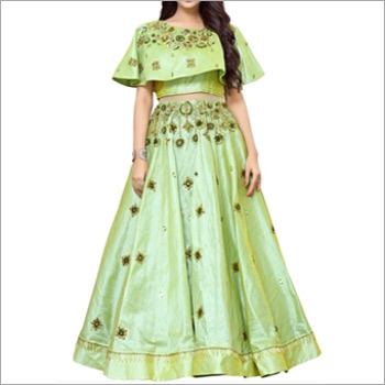 Designer Pista Green Gown With Cape