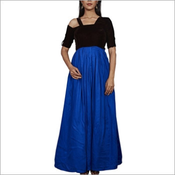 Black And Royal Blue Full Length Gown
