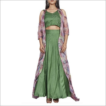 Green Crop Top And Skirt With Organza Jacket