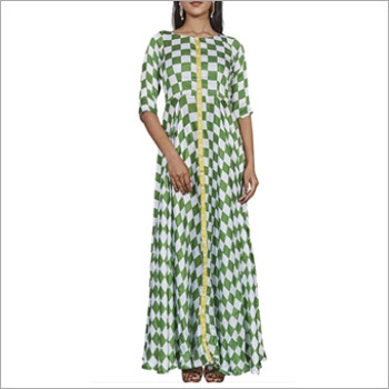Green And White Checks Printed Long Gown