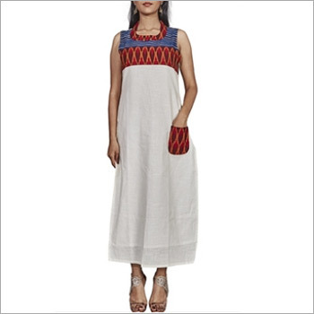 Designer White Cotton Slub Kurti
