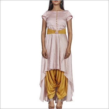 Light Pink And Ocher Yellow Designer Patalia And Kurti