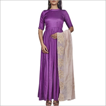 Designer Purple Long Anarkali Top With Jacquard Dupatta