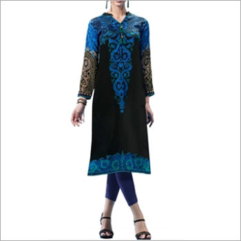 Black and Blue Colored French Crepe Printed Kurti