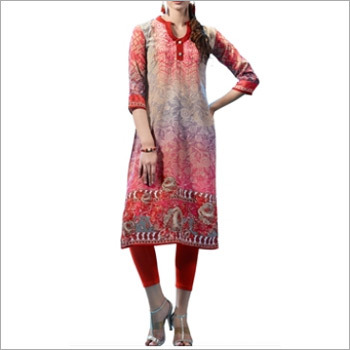 Beautiful Pink Colored French Crepe Printed Kurti