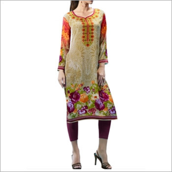 Multi Colored French Crepe Printed Kurti