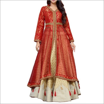Beige And Maroon Top With Lehenga