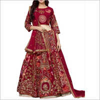 Designer Taffeta Silk And Brocket Lehenga Choli
