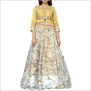 Designer Yellow And Beige Lengha Choli