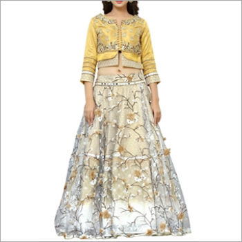 Designer Yellow And Beige Lehenga Choli