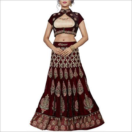 Maroon Velvet Designer Lengha Choli