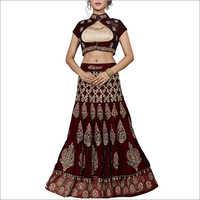 Maroon Velvet Designer Lehenga Choli